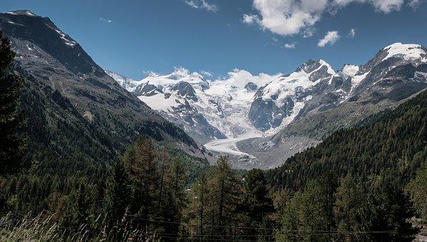 Switzerland, Alpine, Glacier, Panorama, Mood, Summer