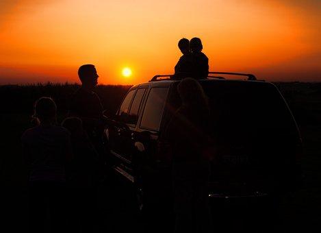 Sunset, Silhouette, Family, Auto, Sun, Orange, Silent