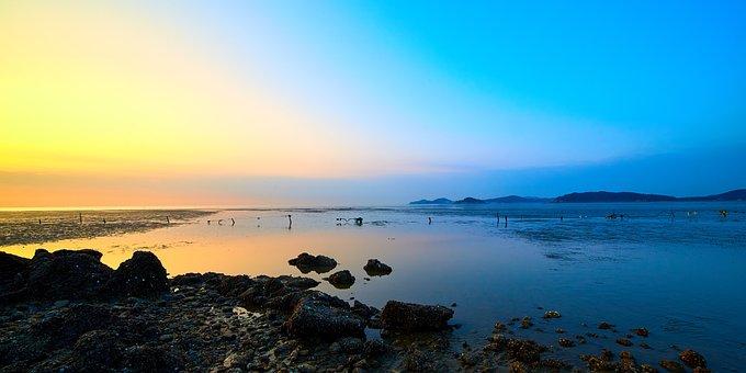 Sunset, Blue, Yellow, Sky, Water, Nature, Landscape