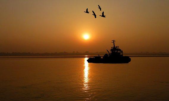 Sunset, Boat, Tug, Sea, Water, Ocean, Reflection, Calm
