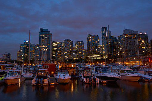 Vancouver, Port, Night, City, Water, Skyline, Canada