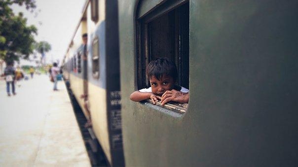 Indian, Portrait, Train, India, Focus, Child, Hold Hand