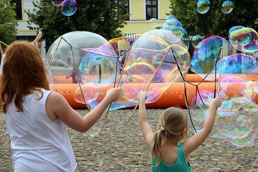 Soap Bubbles, Children, Play, Blow, Girl, Child, Fun