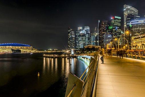 Singapore, City, Lights, Skyline, People