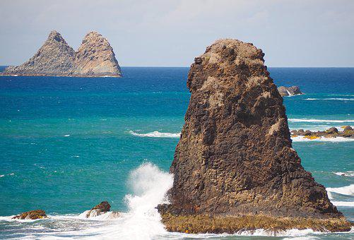 Sea, Rock, Surf, Water, Beach, Nature, Coast, Turquoise