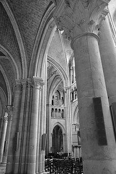 Columns, Church, Cathedral, Nave, Stone, Columnar