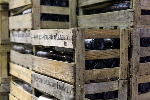 Wine Boxes, Bottles, Stacked, Wood, Glass, Wine, Drink