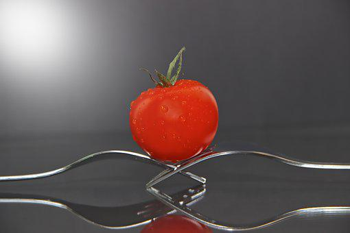 Forks, Tomato, Still Life, Vegetables, Eat, Mirroring
