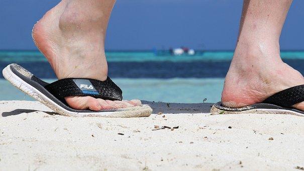 Maldives, Sand, Ocean, Paradise, Beach, Flip, Feet