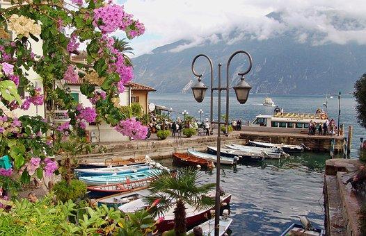 Italy, Garda, Limone, Port, Boats, Ferry, Holiday