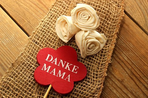 Thank You, Mama, Shield, Red, Wood, Fabric, Flowers