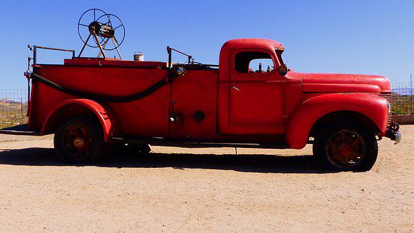 Truck, Fire Department, Red, Former, Vehicle, Retro
