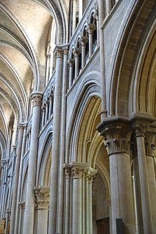 Columns, Cathedral, Arches, Gothic, Sacred, Religion