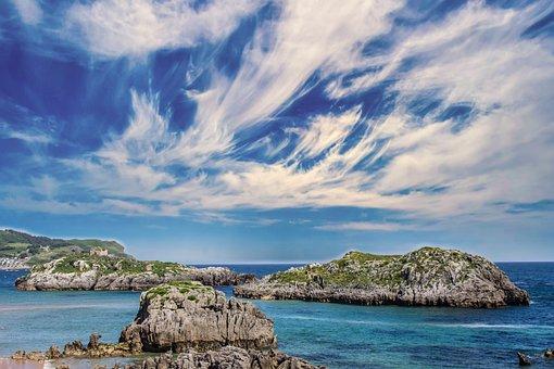 Beach, Clouds, Noja, Spain, Holiday, Ocean, Sea, Blue