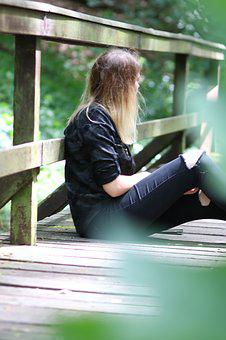 Girl, Bridge, Forest, Sitting, Nature