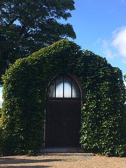 Cemetery, Door, End, Input, Old, Ivy, Portal, Facade