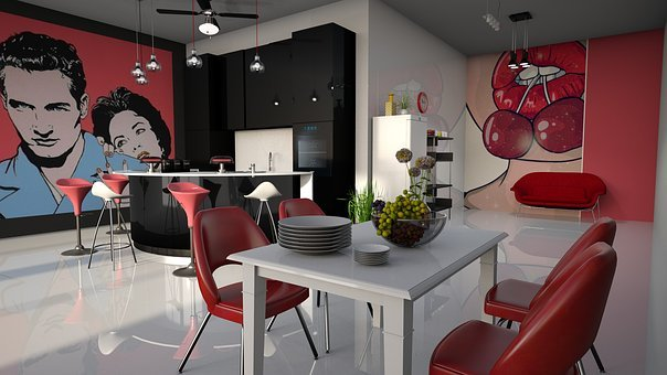 Pop - Art, Kitchen, Red, Furniture, Poster