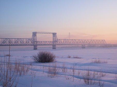 Winter, City, River, Snow, Bridge, Fog, Landscape