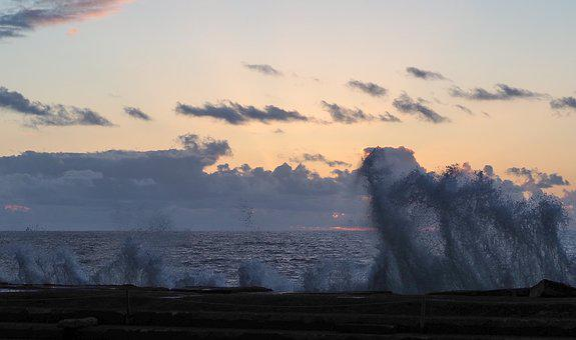 Sea, Sunset, Spray, Evening, Ocean, Water