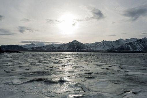 Iceland, Dawn, Sea, Horizon, Sky, Sun, Landscape