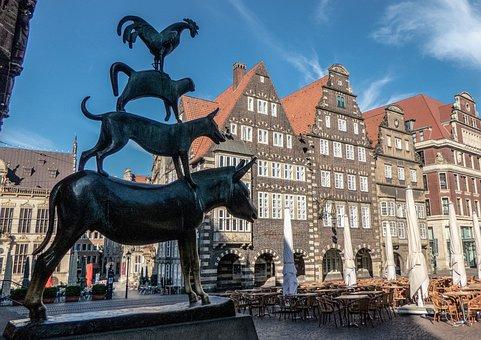 Bremen, Town Musicians, Statue, Landmark, Fairy Tales