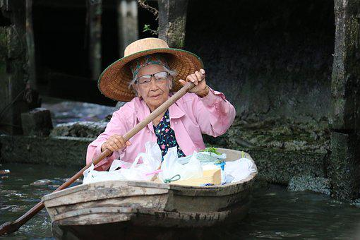 Elderly Woman, Boat, Vessel, Courage, Strength, Age