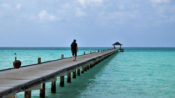 The Pier, Paradise, Maldives, Blue Water, Beach, Ocean