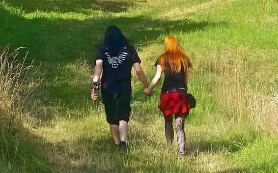 Pair, Holding Hands, Walk, Punk, Nerd, Meadow, Clothing