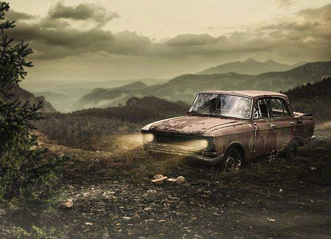 Car, The Mountains, Nature, Fantasy, Wallpaper, Engine
