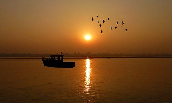 Sunset, Fishing Vessel, Sea, Water, Twilight, Sky