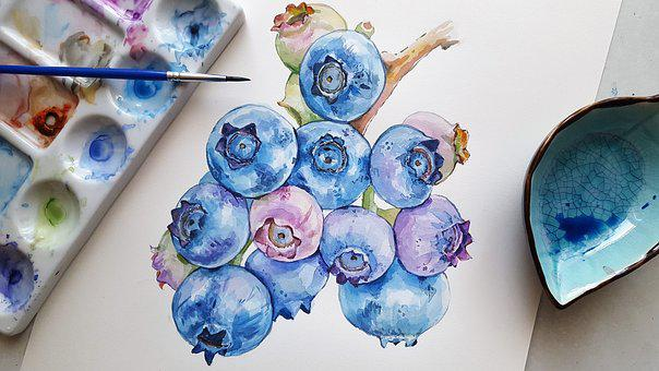 Blueberries, Fruit, Meal, Painting, Berry, Watercolor