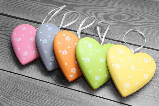 Heart, Colorful, Wood, Love, Romance, Background