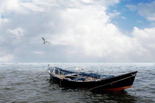 Sea, Boat, Seagulls, Fishing, Clouds, Sky, Water