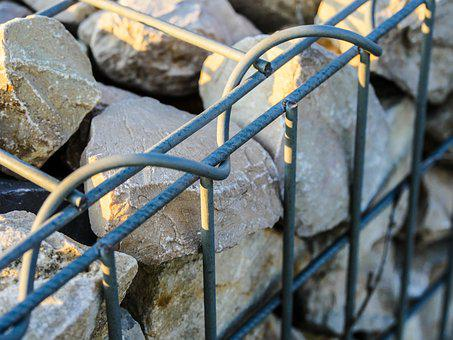 Gabions, Stones, Wall, Granite, Chunks Of Granite