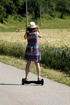 Hoverboard, E-board, Wheels, Girl, Sport