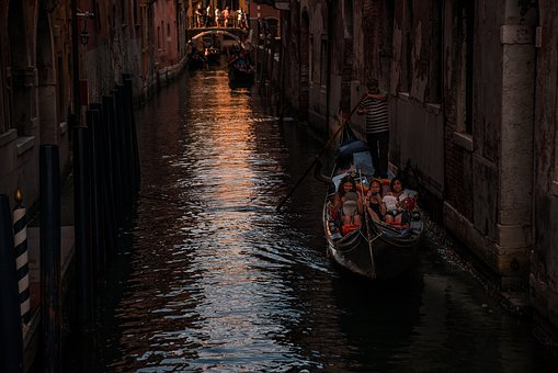 Channel, Gondola, Venice, Italy, Water, Building