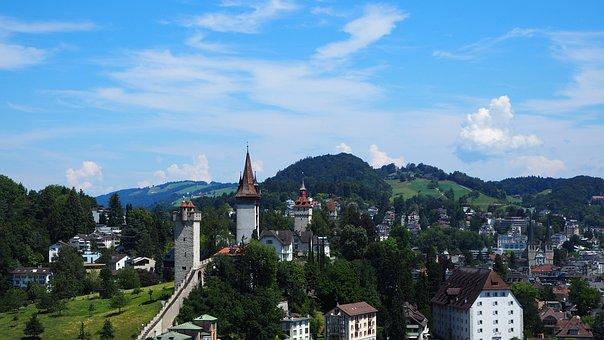 Lucerne, Musegg Wall, City Wall, Landmark