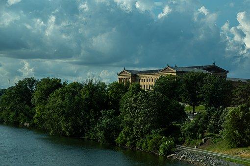 Philadelphia, Trees, River, House, Mansion