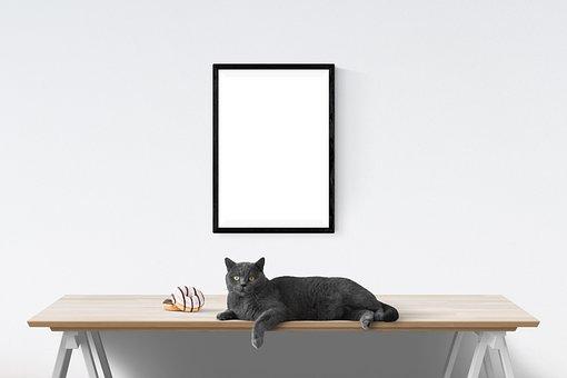 Interior, Poster, Wall, Mockup, Template, Desk