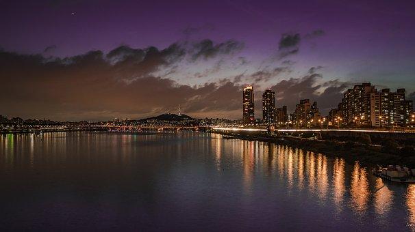 Night View, Seoul, Korea, Han River, Night, Light