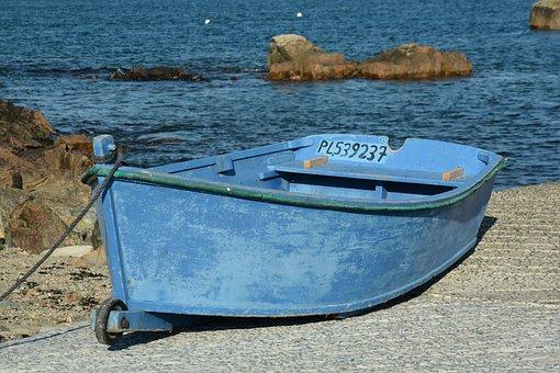Blue, Boat, Rowing Boat, Water, Sea, Sky, Ocean, Nature