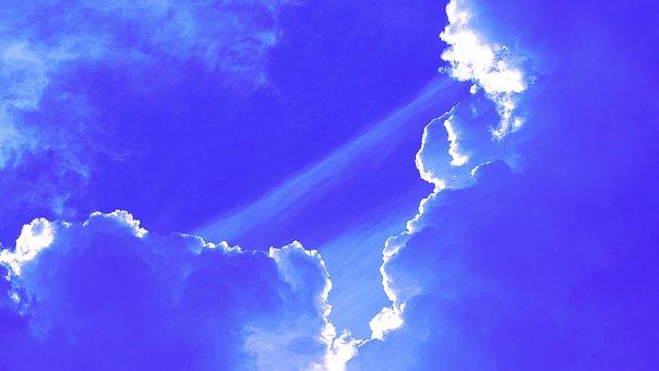 Clouds, Sky, Blue, Sunrise, Rays, Paradise, Morning