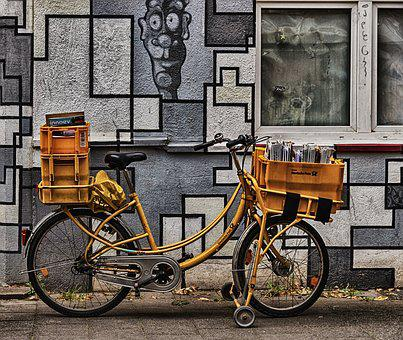 Bike, Post, Postrad, Delivery, Postman, Cycling