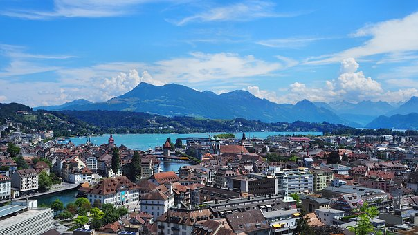 Lucerne, Lake Lucerne Region, Mountains, Sky, Panorama