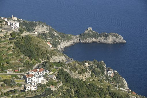 Italy, Bay, Sea, Water, Sky, Landscape, Coast, Summer