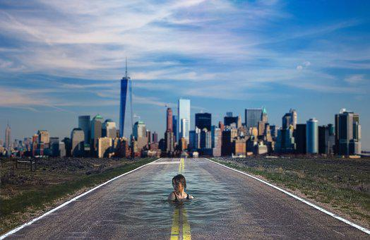 Water, New York, Skyline, Skyscraper, Building, Girl