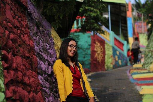 Girl, Glasses, Smiling, Brick Road, Indonesia