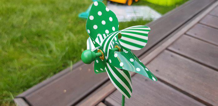 Green, Windmill, Toy, Sweet, Childhood, Fun