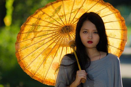 Umbrella, Girl, Outdoor, Asia, Lady, Thailand, Burma