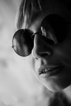 Woman, Girl, Round Sunglasses, Portrait, Person, Model